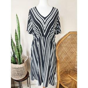 H&M Short Sleeve Striped Black White Maxi Dress